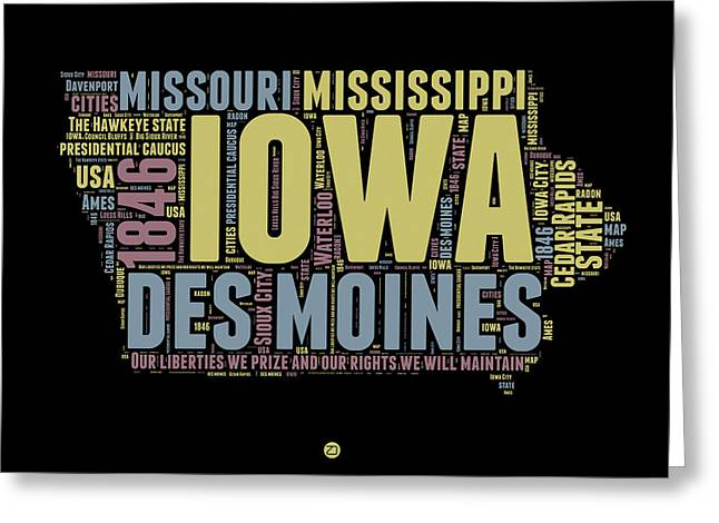 4th July Greeting Cards - Iowa Word Cloud 1 Greeting Card by Naxart Studio