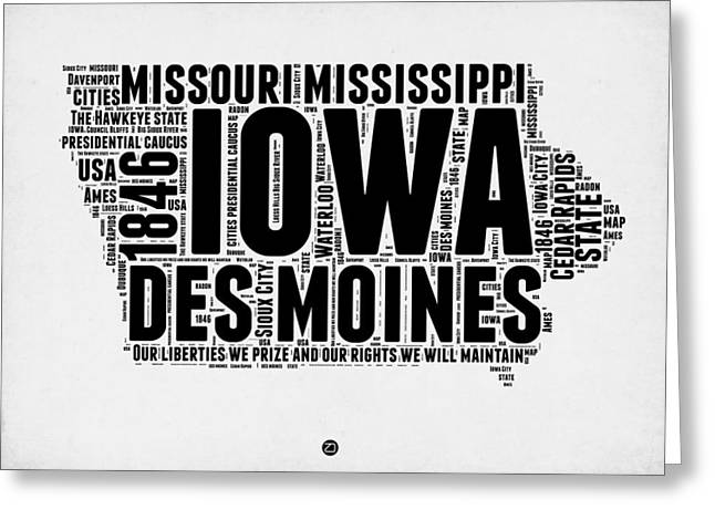 4th July Greeting Cards - Iowa Word Cloud 2 Greeting Card by Naxart Studio