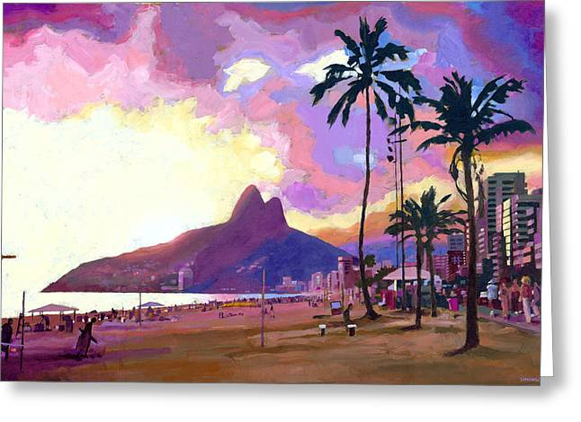 Des Paintings Greeting Cards - Ipanema at Sunset Greeting Card by Douglas Simonson
