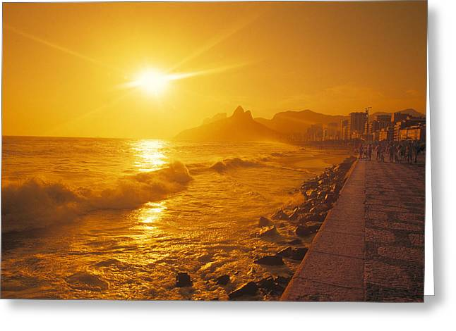Ipanema Beach Greeting Cards - Ipanema Beach in Rio de Janeiro Brazil Greeting Card by Utah Images