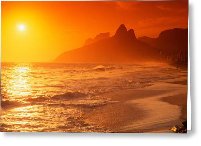 Spectacular Ocean Vistas Greeting Cards - Ipanema Beach Rio de Janeiro Brazil Greeting Card by Utah Images