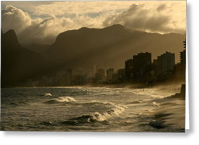 Ipanema Beach Greeting Cards - Ipanema Sunset Greeting Card by Miranda  Miranda