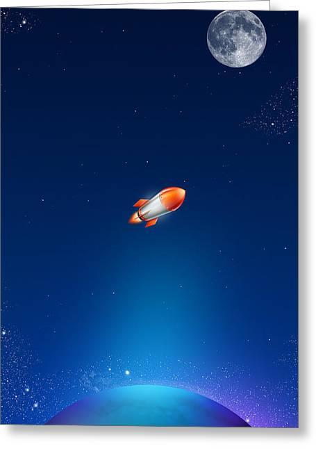 Rocket Greeting Cards - iPhone Case Greeting Card by Liliia Mandrino