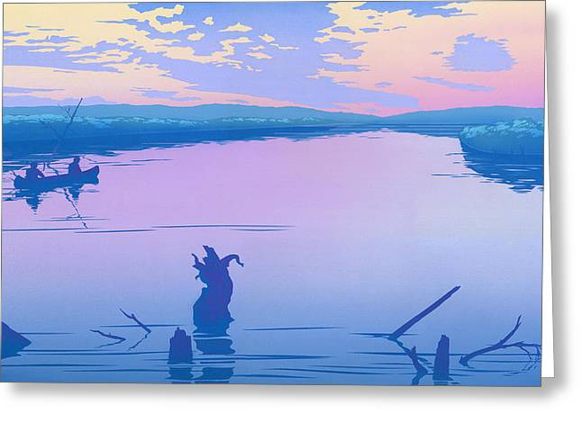 Canoe Paintings Greeting Cards - iPhone - Galaxy Case - Canoeing The River Back To Camp At Sunset Landscape Abstract  Greeting Card by Walt Curlee