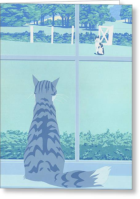 1980s Greeting Cards - iPhone Galaxy Case -  Cat Staring Out Window - stylized retro pop art nouveau 1980s landscape scene Greeting Card by Walt Curlee