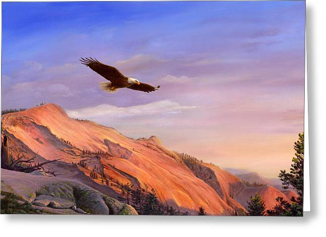 Landscape Iphone Phone Case Greeting Cards - iPhone - Galaxy Case - Flying American Bald Eagle Mountain Landscape Painting - American West Greeting Card by Walt Curlee