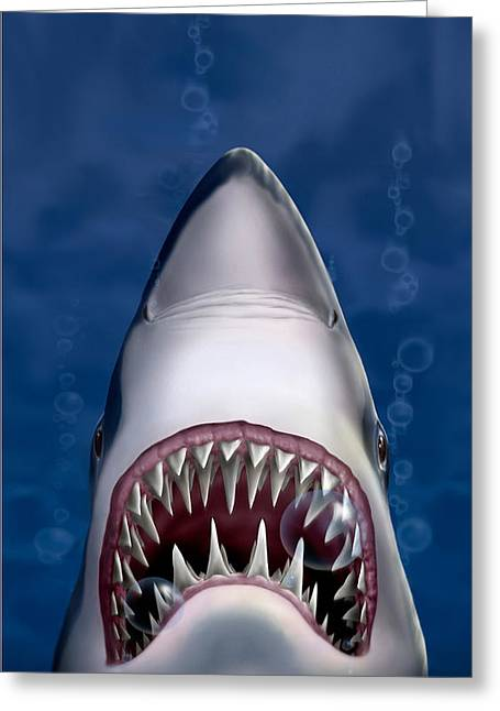 White Shark Greeting Cards - iPhone - Galaxy Case - Jaws Great White Shark Art Greeting Card by Walt Curlee