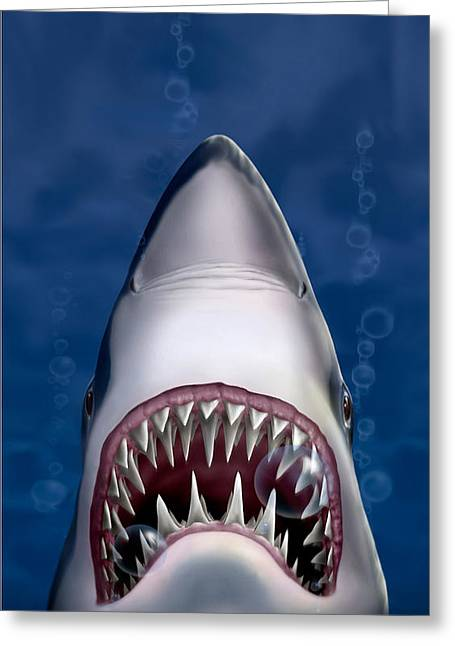 Square Format Greeting Cards - iPhone - Galaxy Case - Jaws Great White Shark Art Greeting Card by Walt Curlee