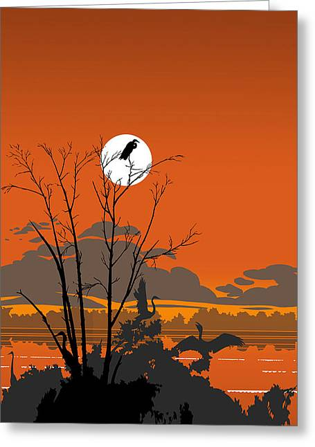 Square Format Greeting Cards - iPhone - Galaxy Case - Tropical Birds Orange Sunset Abstract Greeting Card by Walt Curlee
