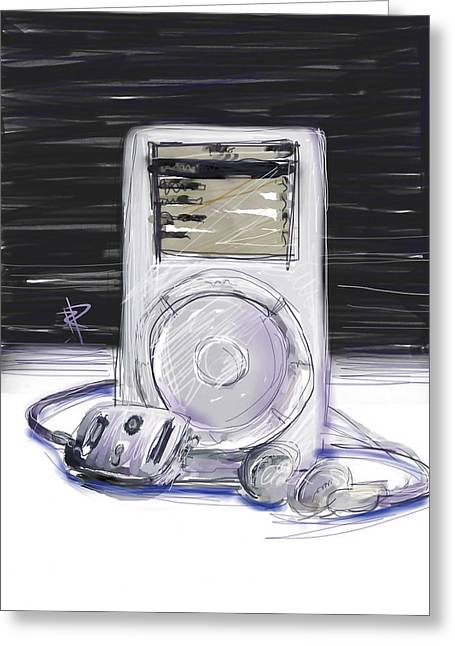 Headphones Greeting Cards - iPod Greeting Card by Russell Pierce