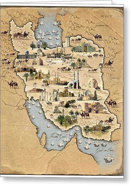 Persian Illustration Greeting Cards - Iran, Pictorial Map Greeting Card by Smetek