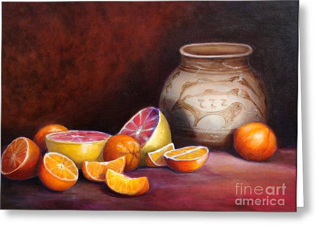 Grapefruit Paintings Greeting Cards - Iranian Still Life Greeting Card by Enzie Shahmiri