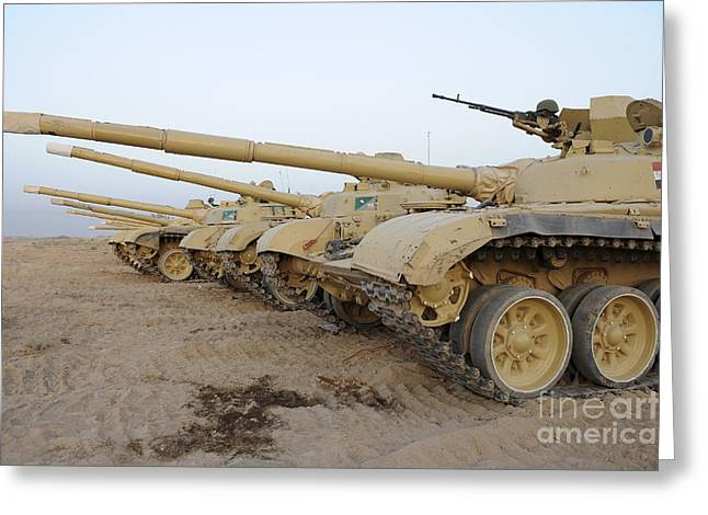 Iraqi Army Greeting Cards - Iraqi T-72 Tanks From Iraqi Army Greeting Card by Stocktrek Images