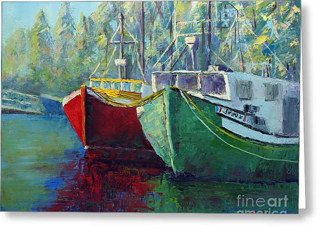 Boats In Harbor Greeting Cards - Iras Boats Greeting Card by Linda Riesenberg Fisler