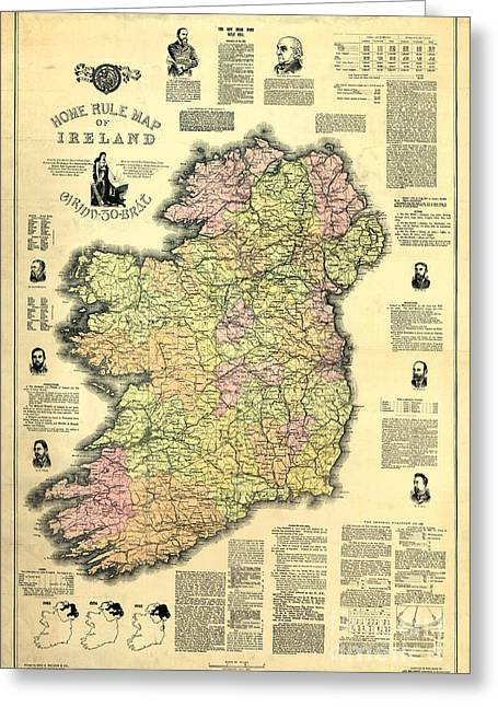Ireland Photographs Greeting Cards - Ireland 1893 Map Greeting Card by Jon Neidert