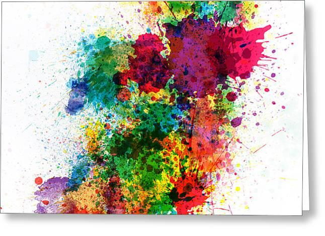 Ireland Map Paint Splashes Greeting Card by Michael Tompsett