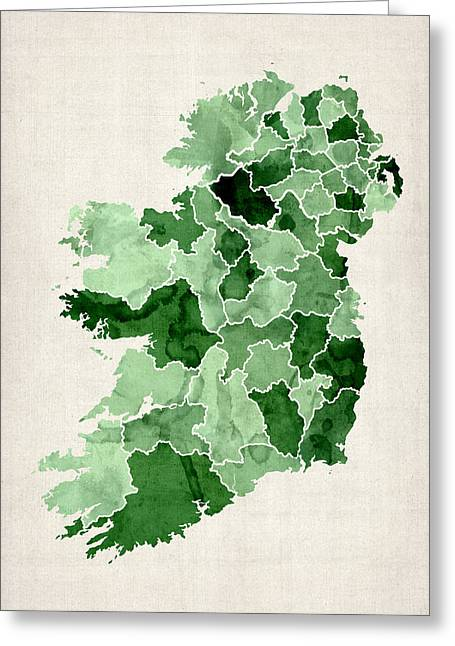 Cartography Greeting Cards - Ireland Watercolor Map Greeting Card by Michael Tompsett
