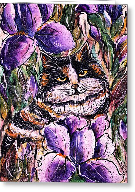 Short Brush Strokes Greeting Cards - Iris 2 Greeting Card by Natalie Holland
