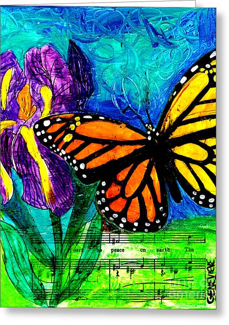 T Shirts Mixed Media Greeting Cards - Iris and Monarch Greeting Card by Genevieve Esson