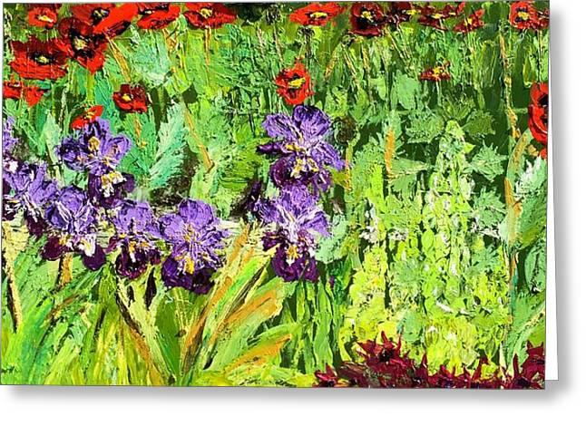 Bells Of Ireland Greeting Cards - Iris and Poppies with Bells of Ireland Greeting Card by Julene Franki