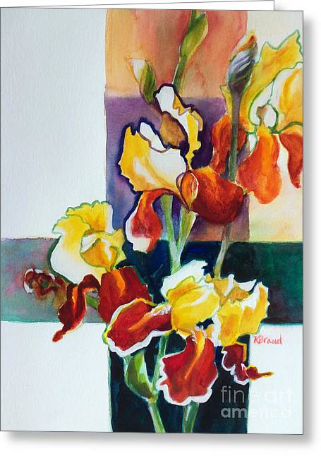 Sienna Greeting Cards - Iris Cross 2015 Greeting Card by Kathy Braud