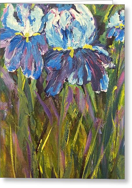 Iris Floral Garden Greeting Card by Claire Bull