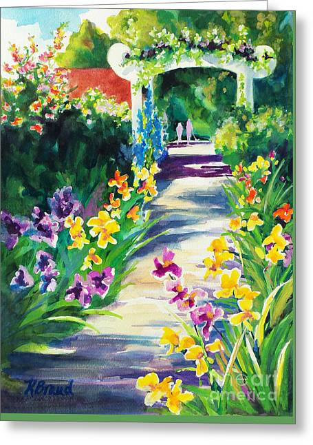 Trellis Paintings Greeting Cards - Iris Garden Walkway   Greeting Card by Kathy Braud
