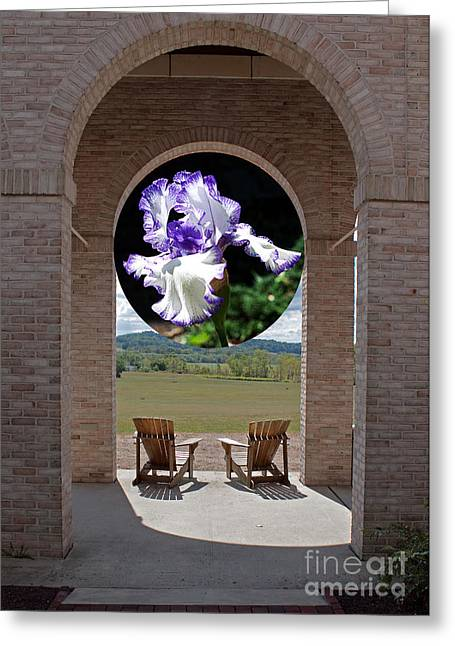 Pinks And Purple Petals Greeting Cards - Iris in Portico Greeting Card by Robert Sander