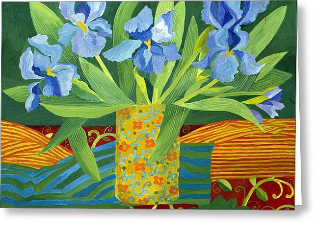 Blue And Green Greeting Cards - Iris Greeting Card by Jennifer Abbot