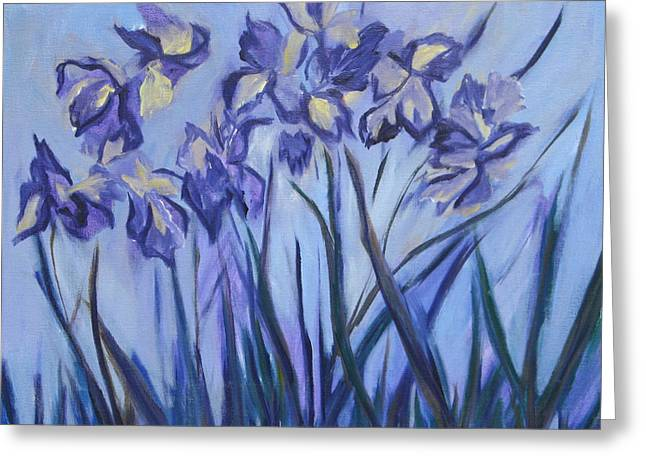 Iris Painting Two Greeting Card by Betty Pieper