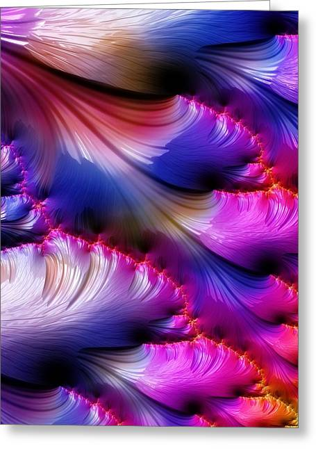 Fractals Fractal Digital Art Greeting Cards - Iris Petals Greeting Card by Amanda Moore