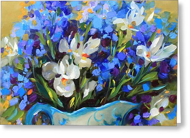 Delphinium Greeting Cards - Irises and Blue Glass Greeting Card by Nancy Medina