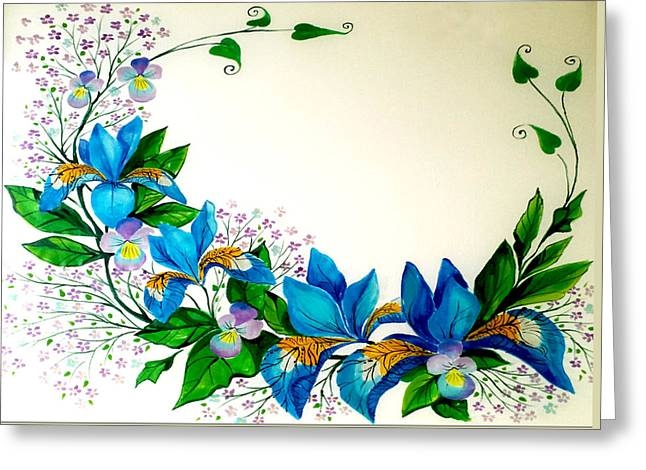 Blue Flowers Tapestries - Textiles Greeting Cards - Irises and Violets  Greeting Card by Joanna Aleksandrova