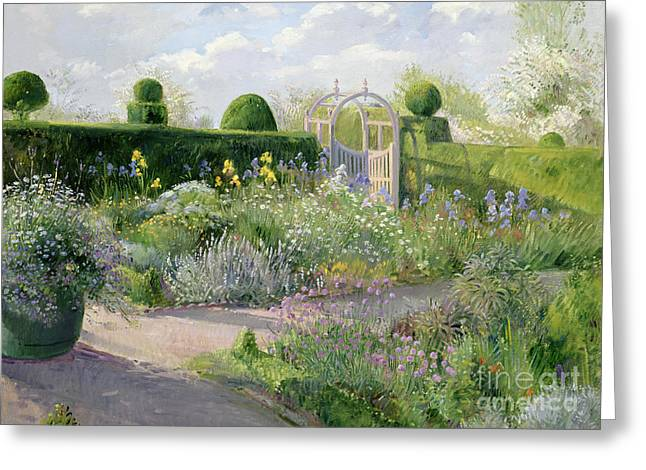 Irises In The Herb Garden Greeting Card by Timothy Easton