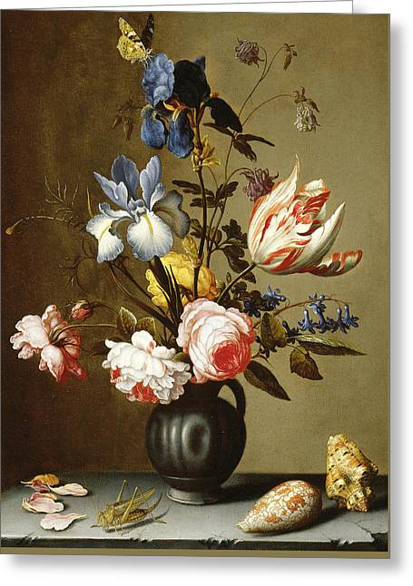 Irises, Roses, Columbine, Hyacinth And A Tulip In A Black Pottery Pitcher Greeting Card by Balthasar van der Ast