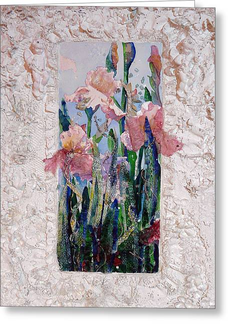Petal Sculptures Greeting Cards - Irises with Sculptered Border Greeting Card by Carole Overall