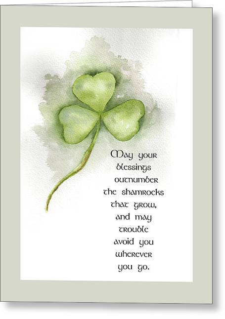 Wishes Mixed Media Greeting Cards - Irish Blessing Greeting Card by Nancy Ingersoll