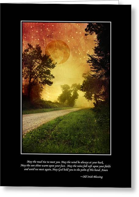 March Moon Greeting Cards - Irish Blessing Poster Art Greeting Card by Christina Rollo