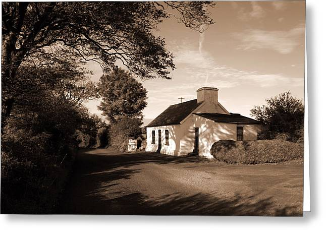 Thatch Greeting Cards - Irish Cottage Greeting Card by John Quinn