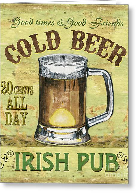 Beer Paintings Greeting Cards - Irish Pub Greeting Card by Debbie DeWitt
