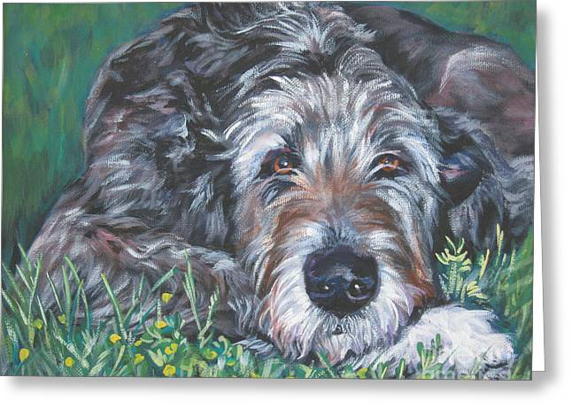 Puppies Paintings Greeting Cards - Irish wolfhound Greeting Card by Lee Ann Shepard