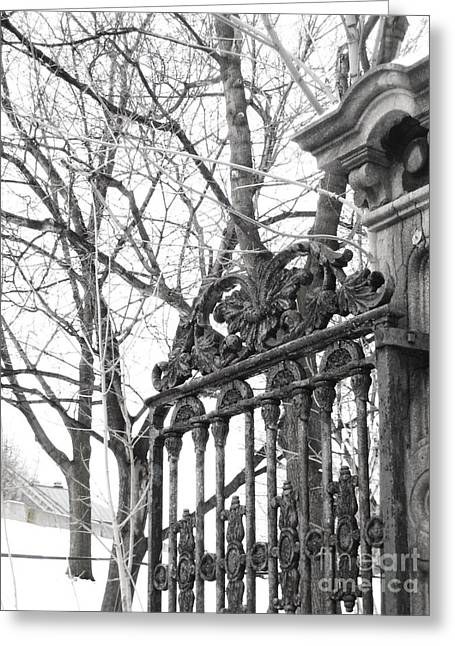 Metal Art Greeting Cards - Iron Gate Greeting Card by Reb Frost