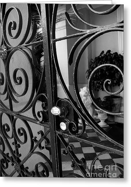 Iron Greeting Cards - Iron Gate Greeting Card by Wendy Mogul