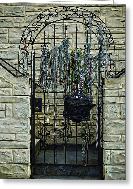 Mardi Gras Greeting Cards - Iron Gate With Colorful Beads Greeting Card by Garry Gay