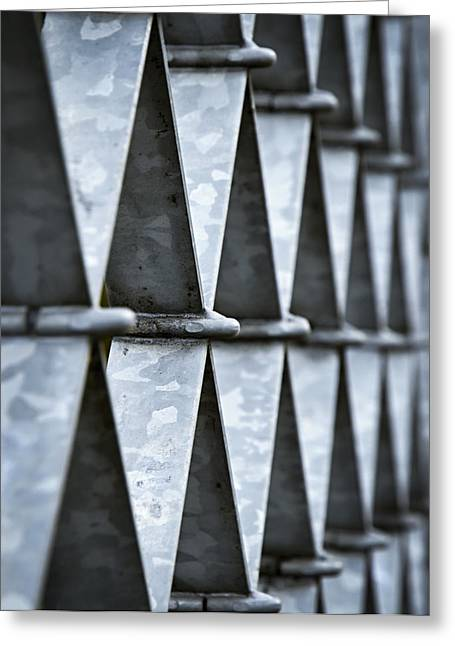 Metallic Sheets Greeting Cards - Iron Grids From Stripes Greeting Card by Jozef Jankola