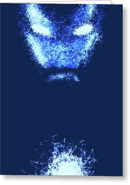 Iron Man - Blue Greeting Card by Prar Kulasekara