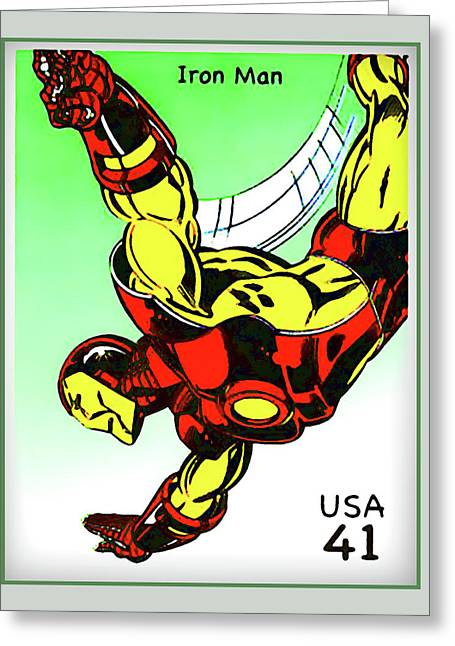 Book Title Paintings Greeting Cards - Iron Man Greeting Card by Lanjee Chee