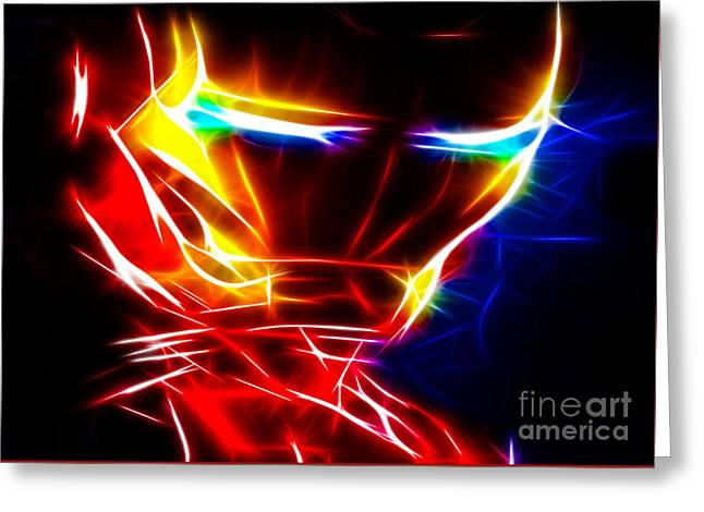 Dinner Mixed Media Greeting Cards - Iron Man Powerful Look Greeting Card by Pamela Johnson