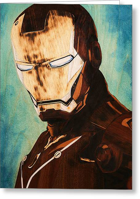 Hand Made Pyrography Greeting Cards - Iron Man Unique handmade marquetry portrait Greeting Card by Laszlo Sandor