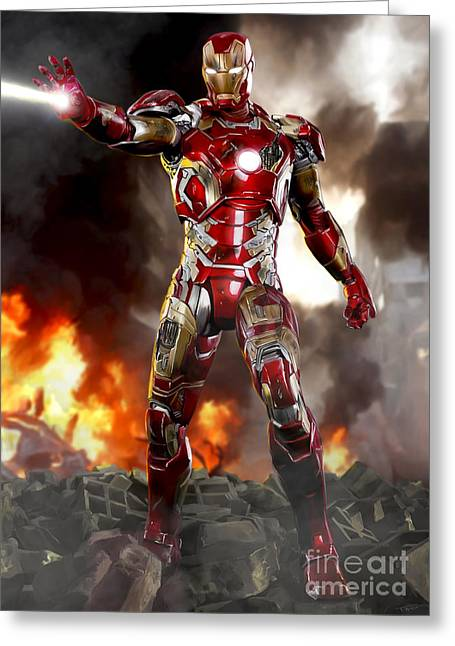 Genius Digital Greeting Cards - Iron Man with Battle Damage Greeting Card by Paul Tagliamonte